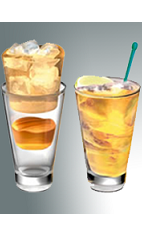 The Ginger Gold drink recipe is made from Xante cognac, ginger ale and lime, and served over ice in a highball or Collins glass.