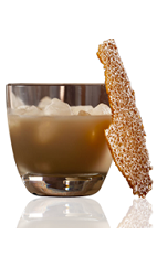 The Amarula Ginger Snap is a brown colored drink made from Amarula cream liqueur, white chocolate ganache and ginger syrup, and served over ice in a rocks glass.