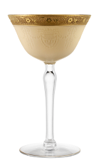 The Golden Cadillac cocktail is made from Galliano L'Autentico liqueur, dark creme de cacao and cream, and served in a chilled cocktail glass.