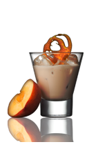 The Golden Glow is a brown colored drink made from Amarula cream liqueur, peppermint schnapps, peach schnapps and vanilla ice cream, and served in a rocks glass.