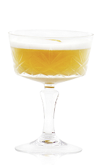 The Golden Tree is an exotic mixture of several tropical and equatorial flavors combined to create one of the perfect digestif cocktails. Made from aged rum, Cointreau orange liqueur, lime juice, vanilla liqueur, cinnamon, egg white and chocolate bitters, and served in a chilled cocktail glass or champagne coupe.