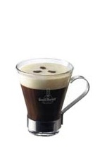 The Grand French Coffee is a black drink made from warm Grand Marnier, hot coffee and whipped cream, and served in a warm coffee glass.