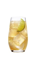 The Grand Ginger is a spritzy drink made from Grand Marnier orange liqueur, lime and ginger ale, and served over ice in a highball glass.