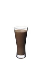The Grand Iced Moccha is a cool brown drink made from Grand Marnier, chocolate ice cream, espresso, chocolate syrup and milk, and served in a highball glass.