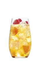The Grand O is an orange cocktail made from Grand Marnier, orange juice, club soda, lemon and berries, and served over ice in a highball glass.
