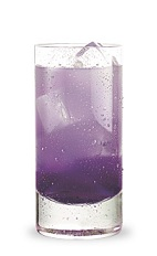 The Grape Crush is a purple drink made from Pucker grape schnapps, peach schnapps, triple sec and lemon-lime soda, and served over ice in a highball glass.