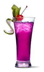 The Grape Groove cocktail is a purple colored drink made from UV Grape vodka, Chambord raspberry liqueur, pineapple juice and lemon-lime soda, and served over ice in a highball glass.