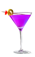 The Grapetini cocktail recipe is a purple colored drink made form UV grape vodka, lemonade and triple sec, and served in a chilled cocktail glass.
