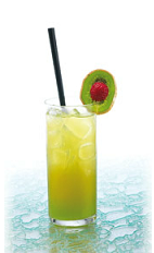 The Green Banana is a fruity green and yellow summer drink made from ginger liqueur, creme de menthe, banana liqueur, orange juice and banana nectar, and served over ice in a highball glass.
