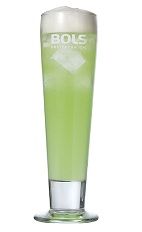 The Green Banana Collins is a fruity green drink made from Bols Green Banana liqueur, vodka, lemon juice, simple syrup, club soda and Bols Banana Foam liqueur, and served over ice in a collins or highball glass.