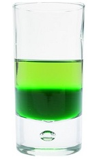 The Green Eye Shot is a green shot made from Green Chartreuse and creme de menthe, and served in a chilled shot glass.