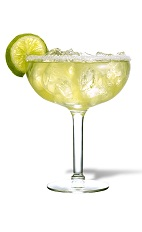 The Habanero Lime Margarita is a spicy green cocktail made from El Jimador tequila, lime juice, sour mix and Tabasco sauce, and served in a salt-rimmed margarita glass.