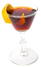 The Hanky Penky cocktail recipe is made from gin, sweet vermouth, Luxardo Fernet herbal liqueur and orange, and served in a chilled cocktail glass.