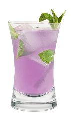 The Harmonie Mojito is a modern take on the classic Mojito drink. A purple drink made from Hpnotiq Harmonie, white rum, lime juice and mint, and served over ice in a highball glass.