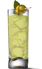 The High Tea drink recipe is a yellow colored drink made form UV Sweet Green Tea vodka and lemonade, and served over ice in a highball glass.