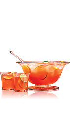 The Holiday Punch is a fruity rum-based punch made from rum, cranberry juice, ginger ale, orange juice, lemon juice and lime juice, and served from a pitcher or punch bowl.
