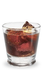 The Holy Cow is a brown drink made from amaretto, bourbon, Jagermeister and Coke, and served over ice in a rocks glass.