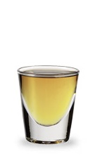 The Holy Frostman is a cool orange shot made from bourbon and peppermint schnapps, and served in a chilled shot glass.
