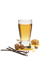 The Honey Nut Shot is a mix of American and Italian classics. Made from Frangelico hazelnut liqueur and Wild Turkey American Honey bourbon, and served in a chilled shot glass.