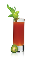 The Hot Bloody Shot is a miniature variation of the classic Bloody Mary drink. Made from Stoli Hot jalapeno vodka, tomato juice, lemon juice, horseradish and Worcestershire sauce, and served in a chilled shot glass.