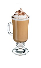 The Hot Coco Bay is a brown colored drink made from Bailey's Irish cream, Captain Morgan spiced rum and hot chocolate, and served in a warm Irish coffee glass.