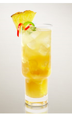 The Hot Sambatini is a spicy cocktail recipe made from Flor de Cana rum, jalapeno pepper, pineapple juice, simple syrup, lime juice and club soda, and served over ice in a highball glass.