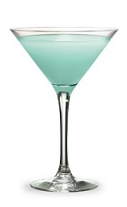 The IndiGo-Go Martini is an exotic blue cocktail made from Pucker Berry Fusion schnapps, vodka and sour mix, and served in a chilled cocktail glass.