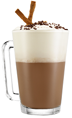 The Italian Hot Choco Latte drink is made from Galliano Vanilla, hot chocolate and whipped cream, and served in a coffee mug garnished with chocolate shavings.