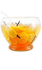 The Italian Spritz Punch drink is made from Galliano L'Autentico, Aperol and Prosecco. Served from a punch bowl or pitcher, and garnished with lemon slices.