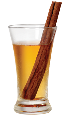 The Jack Cinnaster is an orange shot made from Tuaca Cinnaster cinnamon vanilla liqueur, Jack Daniel's Tennessee whiskey, apple juice and cinnamon, and served in a chilled double shot glass.
