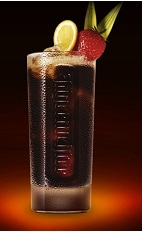 The Jager and Coke drink recipe is made from Jagermeister and Coca-Cola, and served over ice in a highball glass garnished with fresh fruit.