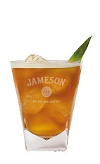 The Jameson Caramel Manhattan is a unique mix of flavors to create one of the best Saint Patrick's Day cocktails. An orange drink made from Jameson Irish whiskey, caramel vodka, sweet red vermouth, pineapple juice and bitters, and served over ice in a rocks glass.