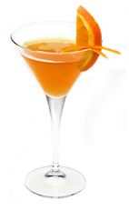 The Jazzy Hour is an orange colored drink made from Disaronno liqueur, vodka, Cointreau orange liqueur, pineapple juice and orange juice, and served in a chilled cocktail glass.