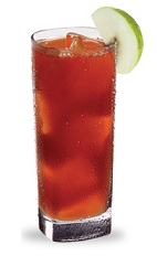 The Johnny Appleseed is a red drink celebrating everything great from the Americas. Made from red apple schnapps, bourbon and cranberry juice, and served over ice in a highball glass.