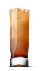 The Just Peachy cocktail recipe is made from UV Peach vodka and sweetened iced tea, and served over ice in a highball glass.