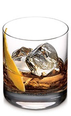The KO Manhattan is a unique variation of the classic Manhattan drink. Made from Ketel One Citroen vodka, Scotch whiskey, sweet vermouth and bitters, and served over ice in a rocks glass.