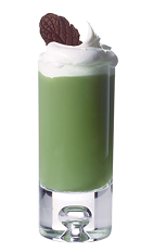 The Kahlua Mintslide is green colored cocktail loosely based on the classic mudslide drink, perfect to serve with dessert or as dessert. Made from Kahlua coffee liqueur, green crème de menthe, white crème de cacao and milk, and served blended in a chilled highball glass topped with whipped cream and a small cookie.
