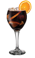The Kahlua Sangria cocktail is made from Kahlua, red wine and fresh seasonal fruit, and served in a wine glass.