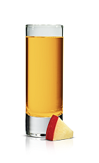 The Karamel Apple Shot is made from Stoli Karamel vodka and apple juice, and served in a chilled shot glass.