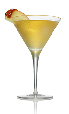 The Karamel Appletini is made from Stoli Salted Karamel vodka and apple juice, and served in a chilled cocktail glass.