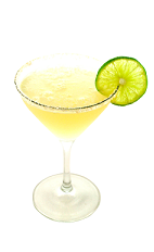 The Key Lime Pie Martini is a yellow colored drink made from exotic flavors including Smirnoff vanilla vodka, Smirnoff lime vodka, coconut milk, lime juice and simple syrup, and served in a chilled cocktail glass.