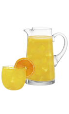 The Keyed Up Punch recipe is an orange colored punch made from Cruzan Key Lime rum, lemon juice, orange juice and coconut water, and served from a large pitcher. Recipe serves about 8.