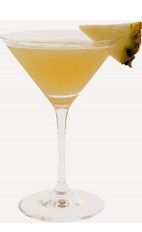 The Killerita cocktail recipe is an orange colored drink made from Burnett's coconut rum, triple sec, coconut milk and pineapple juice, and served in a chilled cocktail glass.