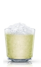 The Kiwi Caipiroska is a fruity down-under variation of the classic Brazilian Caipiroska drink. A green colored drink made from Absolut vodka, lime juice, simple syrup and kiwi fruit, and served over ice in a rocks glass.