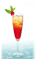 The La Desirade is a sweet winter cocktail made from creme de cassis, apricot nectar and champagne, and served in a chilled cocktail glass.
