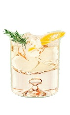 The La Neige Russe drink is made from vodka, St-Germain elderflower liqueur, freshly squeezed lemon juice, white grape juice and bitters, and served over ice in a rocks glass.
