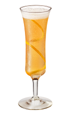 The La Royale cocktail is made from Chambord flavored vodka, Cognac, cinnamon, simple syrup, lemon juice, orange marmalade and champagne, and served in a chilled champagne glass.