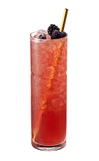The La Societe drink is made from Chambord flavored vodka, lemon juice, agave syrup, blueberries and blackberries, and served in a collins or highball glass.