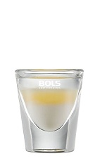 The Layered Colada is a summer party shot made from yoghurt liqueur, pineapple juice and coconut rum, and served in a chilled shot glass.