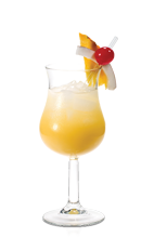 On a hot and lazy summer day nobody wants to work too hard for a good cocktail, that's what makes the Lazy Pina Colada just right. Made from Don Q Coco rum and pineapple juice, and served over ice in a wine glass garnished with fruit.